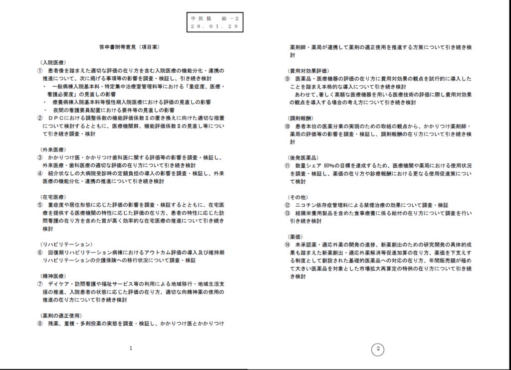 中医協総会 附帯意見の項目案示される
